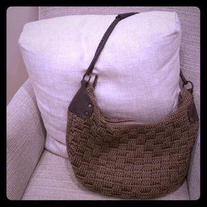 The SAK crochet  hobo purse leather handles